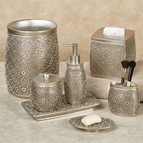 Jag Antique Gold And Silver Bath Accessories Bath Accessories Bathroom Accessories Sets Silver Bathroom