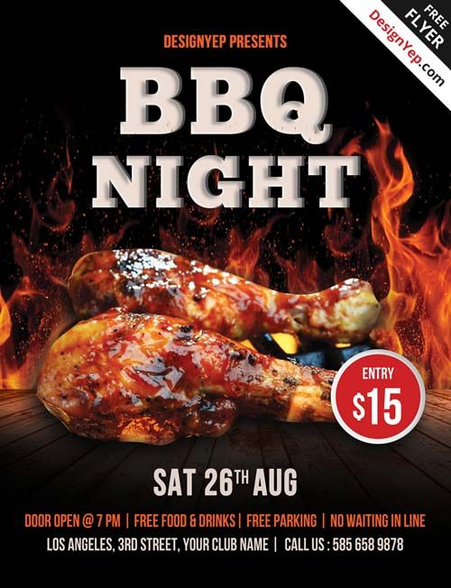 Free barbecue night psd flyer template favor pinterest night flyers and fire for Barbeque flyer template