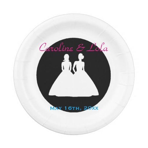 Bride and Bride Lesbian Wedding 7 Inch Paper Plate