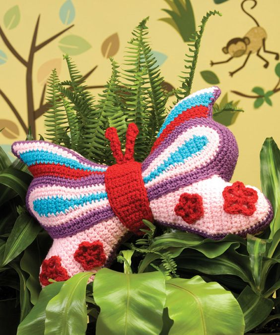 Brilliant Butterfly Pillow Crochet Pattern | Red Heart