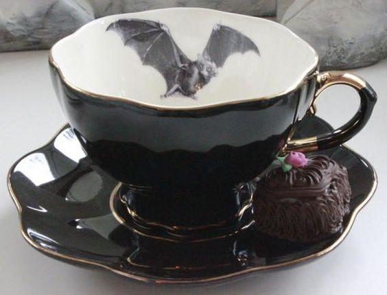 SELECTED SECONDS Black & Gold Bat or Custom Personalized Teacup, High Tea Victorian Steampunk, Bat Halloween China, Bespoke Wedding