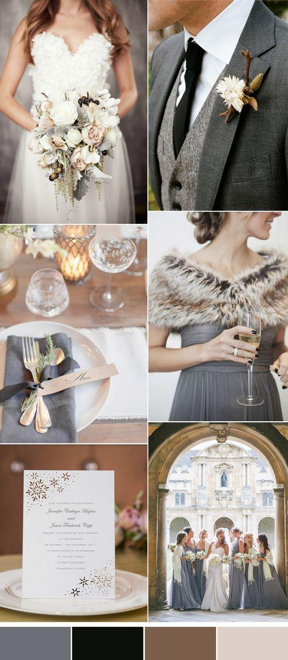 accoglienti colori di nozze grigio inverno:
