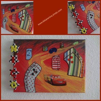 Kinderzimmer Bild Leinwand Stoffreste Acrylfarbe
