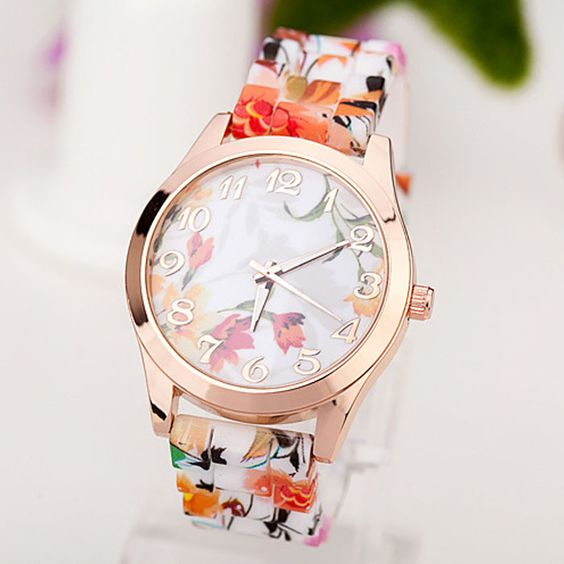 2016 HOT! Fashion Women Watches Reloj Rose Flower Print Silicone Floral Jelly Dress Watches Lady Girls