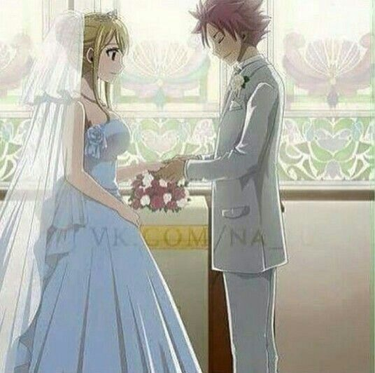 Natsu and Lucy in a white dress and a tux. (Just stating ...
