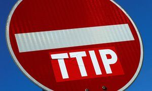 A no entry sign against the TTIP free trade agreement in Frankfurt, Germany.: