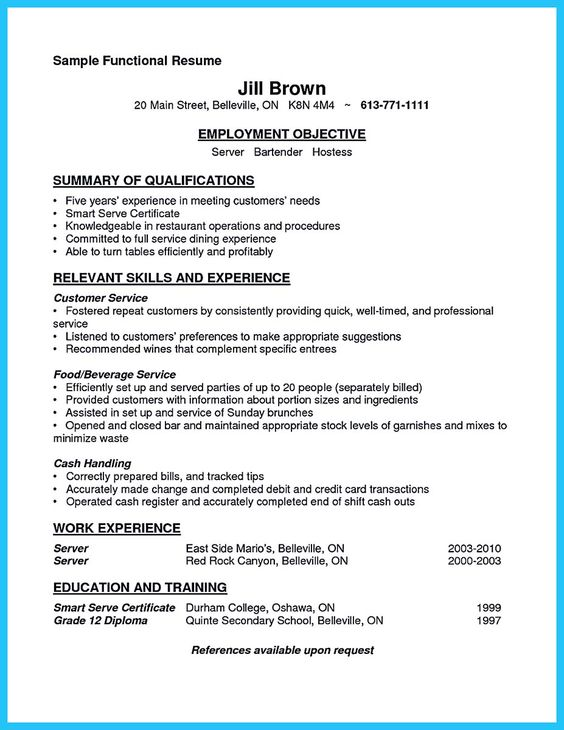 Pinterest u2022 The worldu0027s catalog of ideas - bartending resume template