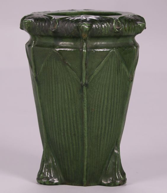 Wheatley Pottery matte green buttress vase.  Signed. Perfect condition.  11.5″h 9″d