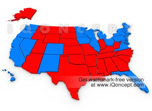 EXCLUSIVE: Red Vs Blue United States Map 2012 Democrat Republican Presidential Election  (want it without the watermark?  It's available at iQoncept.com... and we can add your own message to it!)