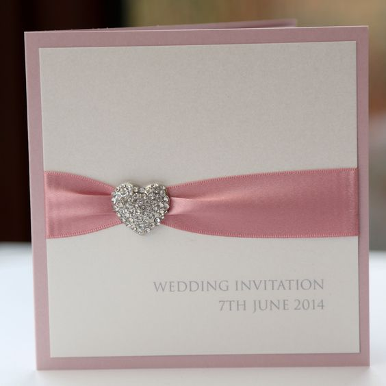Romantic Dusky Pink Heart Invitation - Vintage Wedding Stationery Scotland -