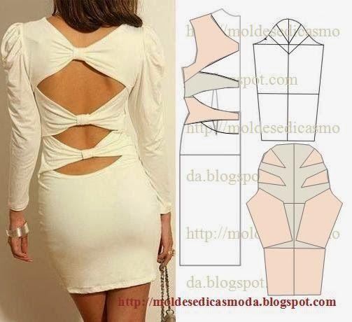 TRANSFORMAÇÃO MOLDE DE VESTIDO Desenhe o molde base frente costas e manga. Desenhe o decote nas costas. Desenhe os laços nas costas. Desenhe a altura do ve