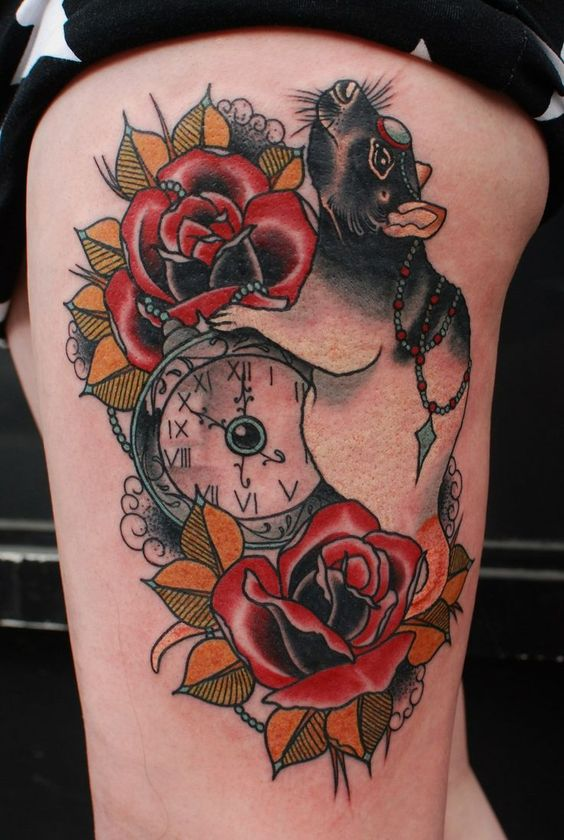 Colorful Rat With Two Red Roses & Pocket Watch Tattoo On Thigh