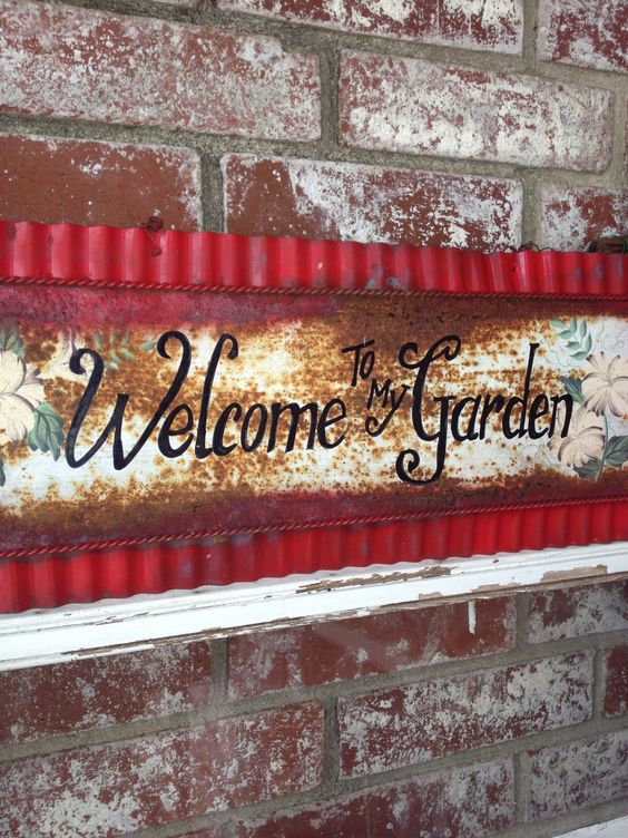 Added red to vintage garden sign