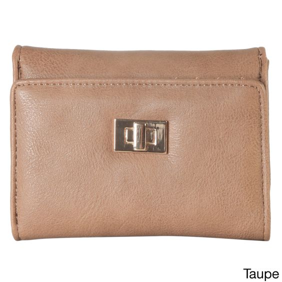 Diophy Faux Turn Lock Trifold Wallet