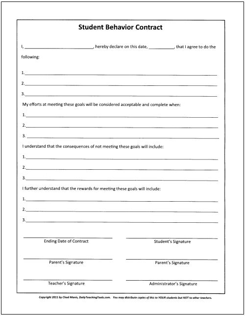 Teacher Contract Template Help For Parents Working To Improve - sample behavior contract
