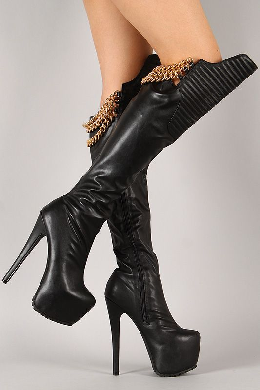 Hustle your way to the top with this striking thigh high boot ...