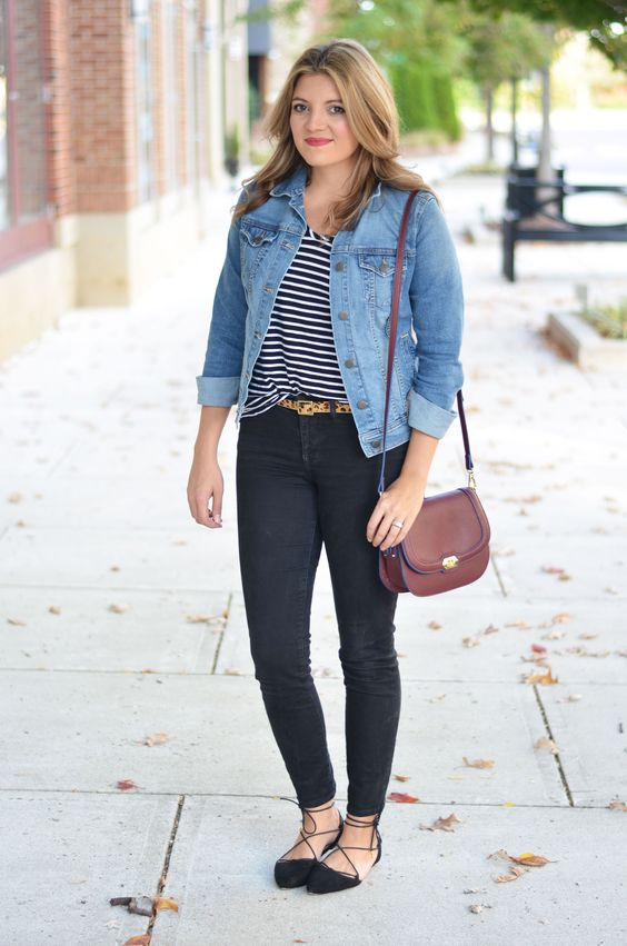 perfect denim jacket outfit - black jeans with denim jacket | www ...