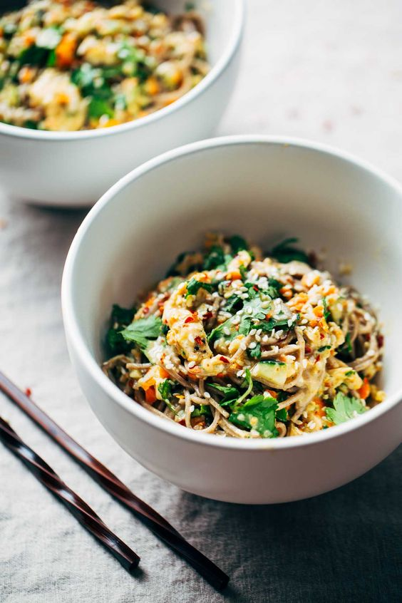 Chopped Chicken Sesame Noodle Bowls - soba noodles topped with peanut ...