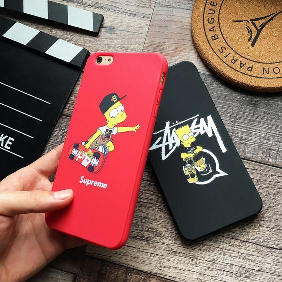 ザ・シンプソンズsupストリートファッションブランドコラボ6sケースiphone6plusアイフォン7ソフトマット素材レッド赤携帯カバー