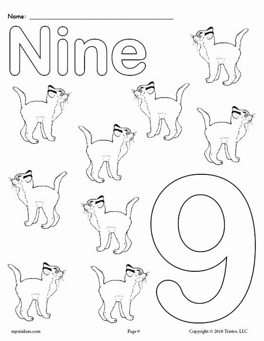 Number 9 Coloring Page Elegant Free Printable Animal Number Coloring Pages Numbers 1 10 School Coloring Pages Coloring Pages Numbers Preschool