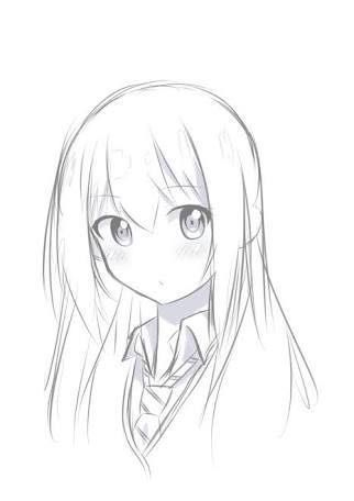Easy Drawing Of A Girl Ilustrasi Lukisan Sketsa Seni Anime