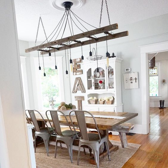 wood and metal dining room by @whimsygirldesign