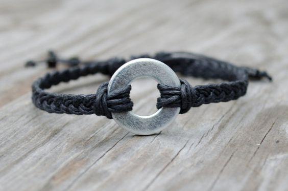 Unisex Washer Bracelet, Industrial Bracelet, Adjustable Mens Bracelet, Black Braided Bracelet, Hardware Bracelet, Silver Mens Bracelet on Etsy, $12.54
