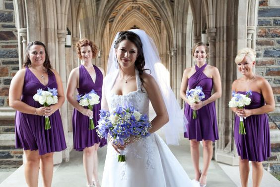 Brides maid dresses same color and length. But I want a different color. Perfect for different shape bridesmaids