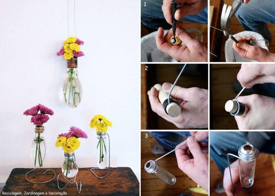 Riciclo lampadine. Vasi portafiori  Idee di Riciclo - Creative recycling  Pinterest