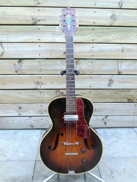 50 39 s silvertone s1317 harmony h50 archtop jazz guitar w gibson p13 pickup ebay guitars. Black Bedroom Furniture Sets. Home Design Ideas