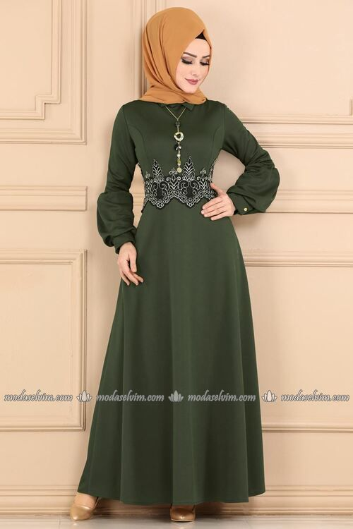 Modaselvim Elbise Beli Gupurlu Kolyeli Elbise 2196ms212 Haki Model Pakaian Pakaian Model