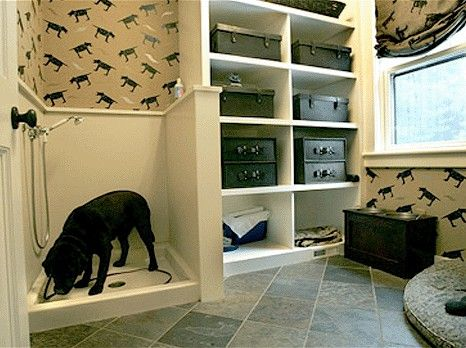 A doggie shower would be a perfect addition to the dog room. No more clogging up our bathtub drains with their crazy amounts of hair!