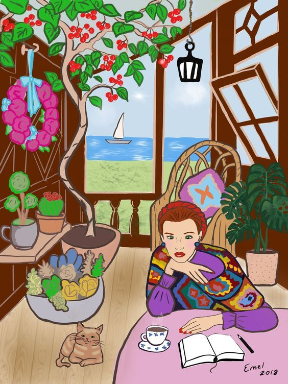 Chica junto al mar por Emel Erten