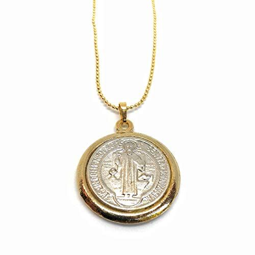 Saint Benedict Medal Necklace Gold Plated Ball Chain 17 Https Www Amazon Com Dp B019g2cg90 Ref Cm Sw R Pi Dp X Xkpacbn51wgp1