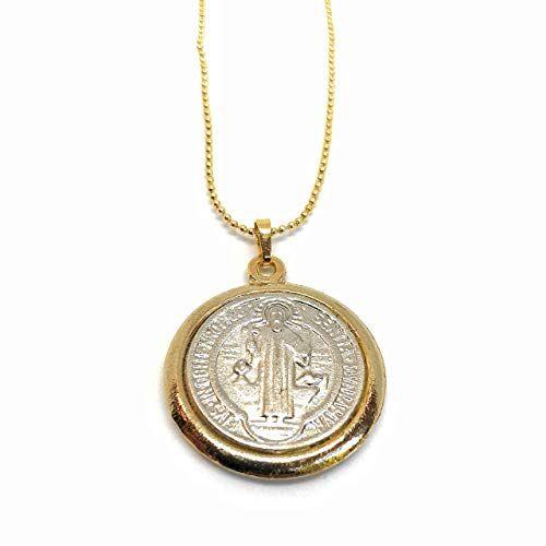 Saint Benedict Medal Necklace Gold Plated Ball Chain 17 Https Www Amazon Com Dp B019g2cg90 Ref Cm Sw R Pi Dp X Xkpacbn51wgp1