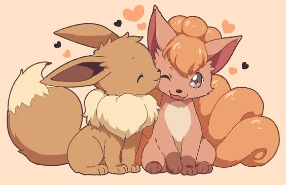 Pokemon is the best RPG game ever made. The formula of the game has not been changed since its conception. This anime wallpaper shows Eevee with Vulpix. Real cute.