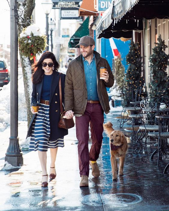 Sarah Vickers, of @sarahkjp, in the Striped A-Line Skirt with her husband Kiel James Patrick