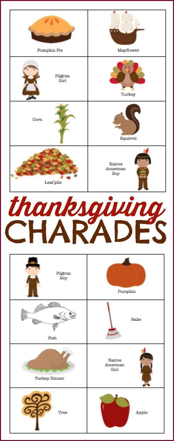 Thanksgiving charades Fun family thanksgiving games