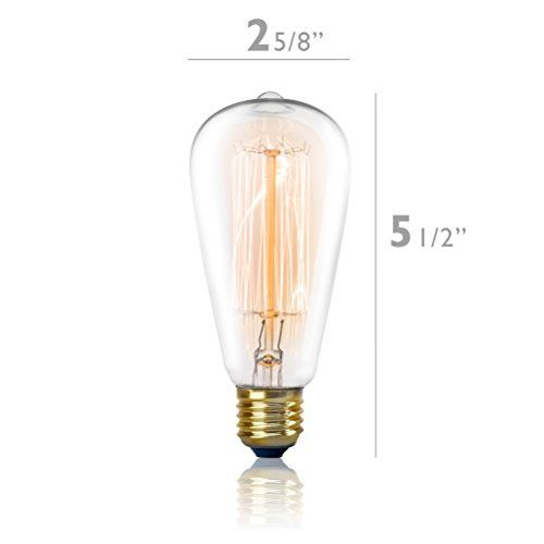 Vintage Edison Light Bulb 60w 4 Pack Dimmable Exposed Filament Incandescent Clear St58 Teardrop Squirrel C Edison Light Bulbs Filament Bulb Lighting Bulb