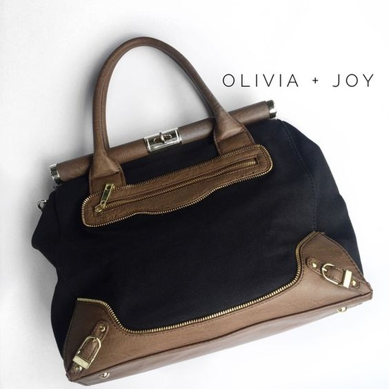 """• olivia + joy handbag • in excellent condition. no wear on the interior. minor scratch on bottom as shown in picture 4. the top of the bag closes by a lock. does not include crossbody strap.  15"""" x 11"""". Olivia + Joy Bags"""