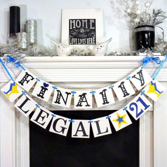 21 / Happy 21st Birthday / Birthday Party Banner / Happy Birthday ...