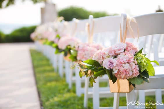 Ceremony Chairs at Gazebo with Hanging Flowers | Vintage Villas | Addison Studios | Flowers by Cathy Shay