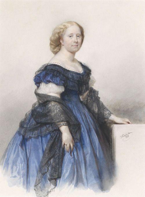 1856 Josef Kriehuber - Lady in blue dress