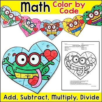 Valentine's Day Math Color by Code Bunting: Create a fun and eye catching Valentine's theme banner for your room while practicing number matching, adding, subtracting, multiplying or dividing with this exciting color-by-code picture activity! This is perfect for:
