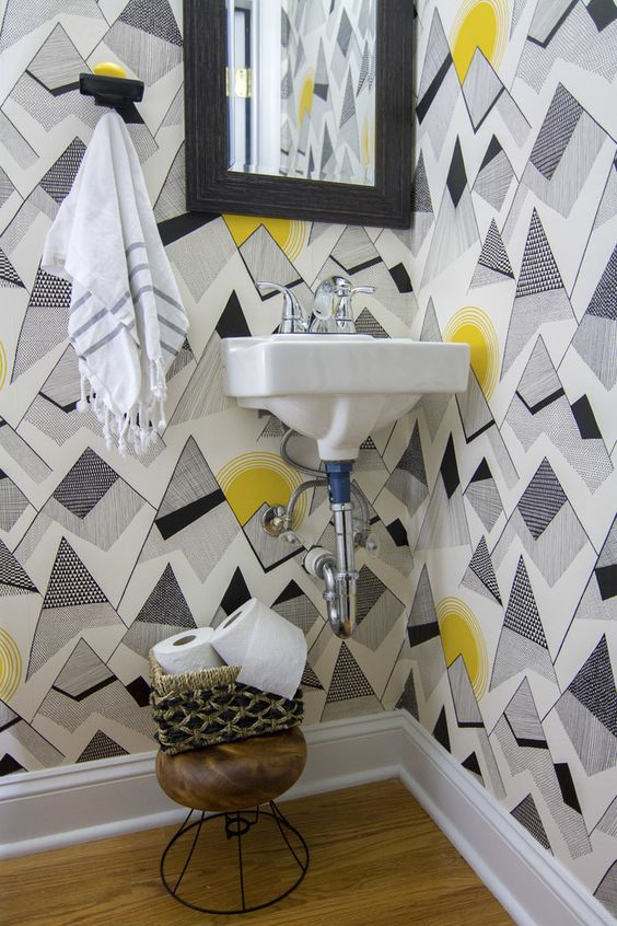 patternsnap  The powder room is finally finished after adding Signature Hardware fixtures for hand soap & towel.