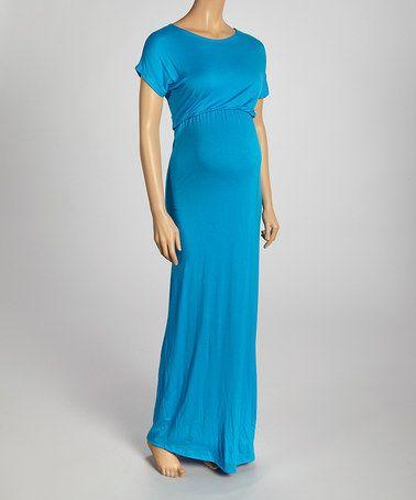 Look at this #zulilyfind! Turquoise Scoop Neck Maternity Maxi Dress #zulilyfinds