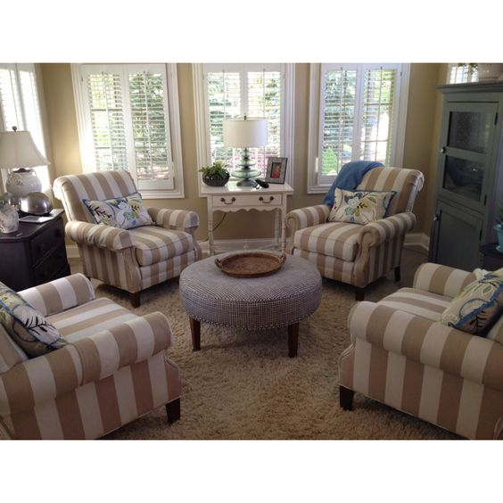 Chairs ottomans and chair and ottoman on pinterest for 4 chair living room arrangement