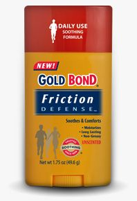 Gold Bond Friction Defense. I will admit (in case you didn't already know) I have huge boobies. When you have gigantic tatas, the skin underneath can get easily irritated, especially when exercising. This stuff has been a blessing. If you too have massive mammaries, give it a try.