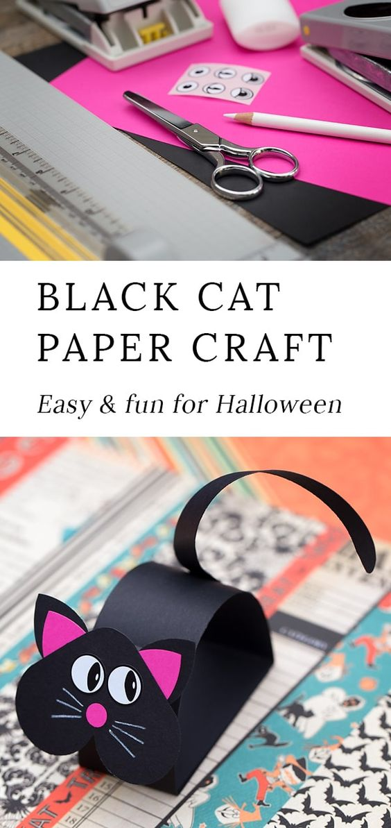 Just in time for Halloween, kids can learn how to make a fun paper bobble head black cat craft. This easy DIY kitty craft includes a free pattern, making it perfect for home or school. #halloween #crafts #kids #cats #kidsactivities