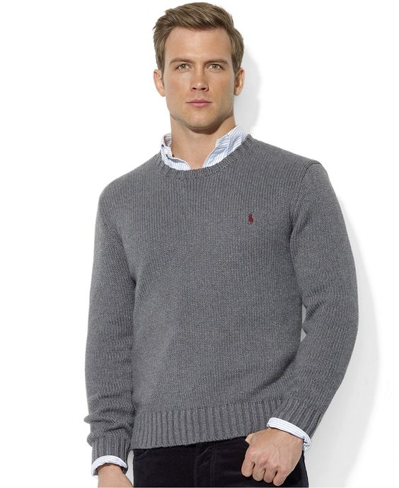Polo Ralph Lauren Sweater, Crew Neck Cotton Pullover - Sweaters - Men - Macy\u0026#39;s